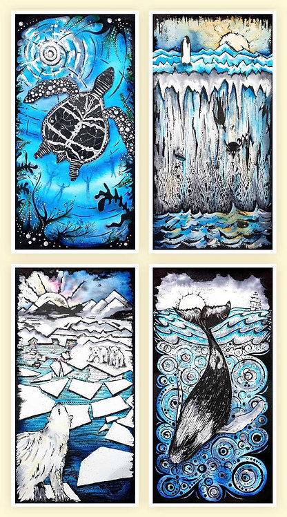 Blue Beauty Greeting Cards Set