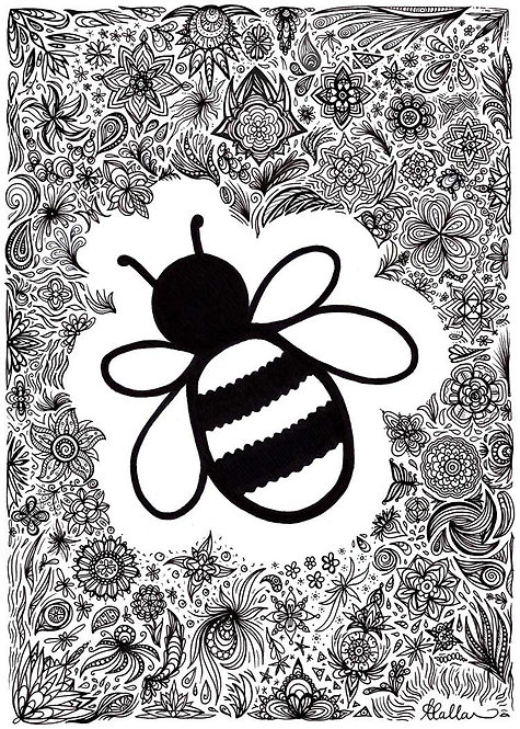 Doodle Patterns Patterned Bee Greeting Card