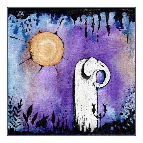 Enchanted Elephant Twilight Canvas Greeting Card