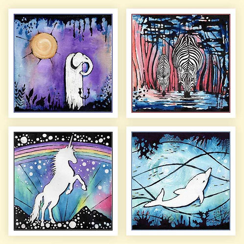 Animalia Canvas Painted Animals Greeting Cards