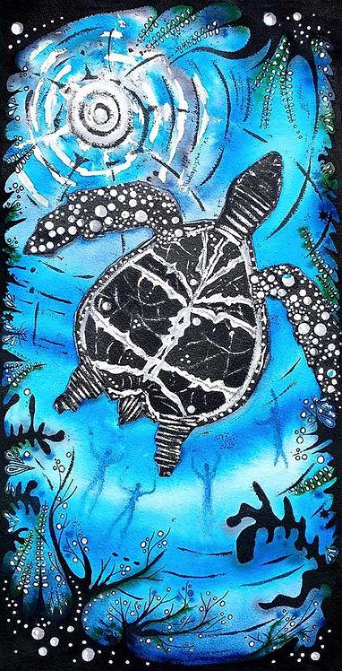 Turtle Swimming Sea Greeting Card