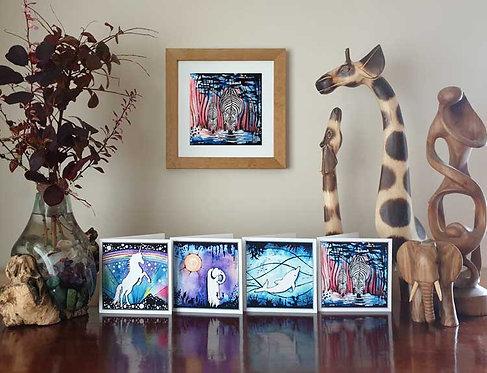 Animalia Animal Zebra at the waterhole fine art print and greeting cards