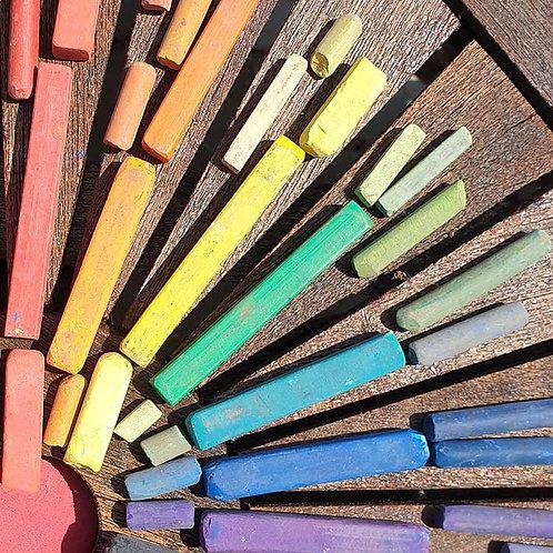 Chasing rainbows colour chalks photo greeting card