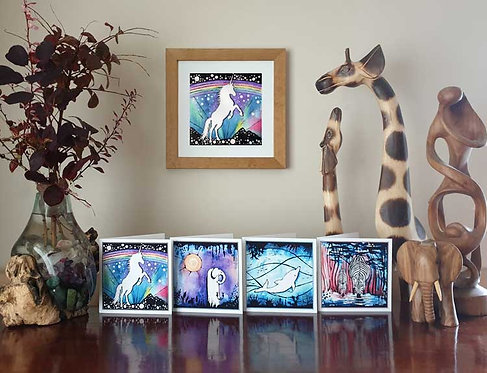 Animalia Dancing and Prancing Unicorn under rainbow sky animal fine art print and greeting cards