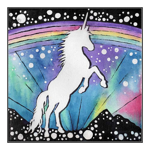 Prancing Unicorn Magic Rainbow Canvas Greeting Card