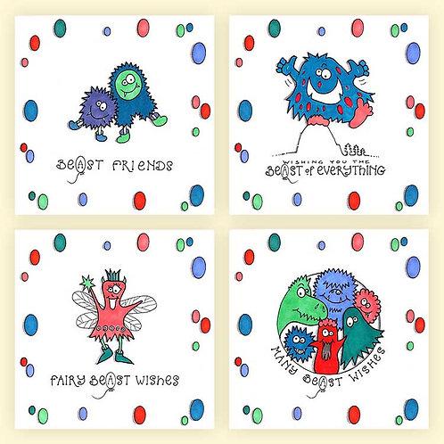 Beasts Friendly Monsters Art Drawings Greeting Cards