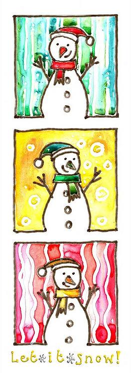 Let it Snow Snowman Watercolour Art Christmas Card
