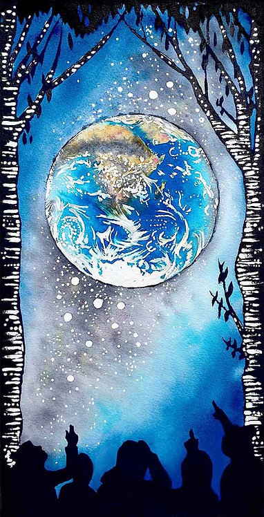 World Imagine If Stargazing Globe Earth Greeting Card