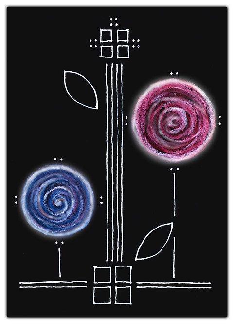 Blue Purple Chalk Pastel Buds Flowers Greeting Card
