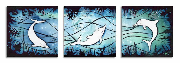 Three Dolphins Trio Dolphin Swimming Dancing Greeting Card
