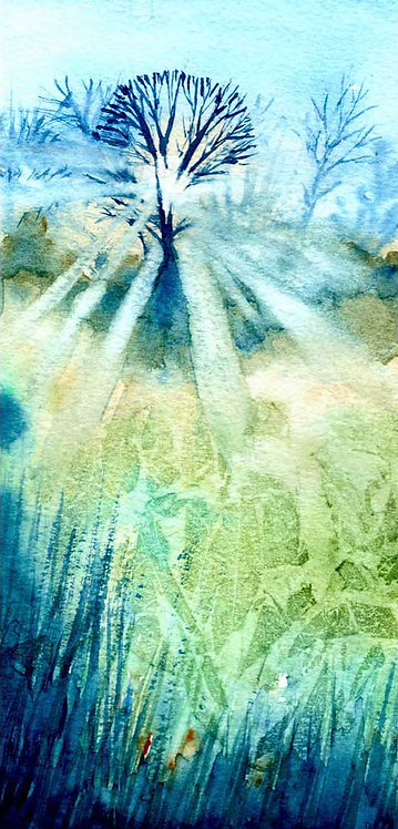 Watercolour Misty Morning Landscape Greeting Card