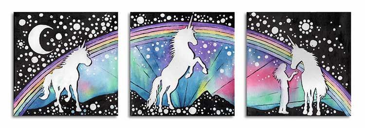Three Unicorns Trio Unicorn Rainbow Moon Greeting Card