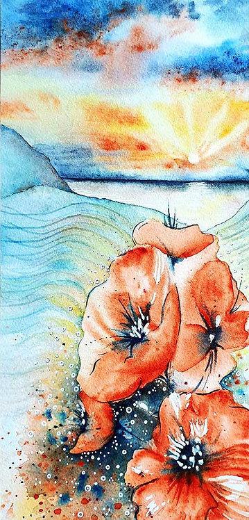 Watercolour Poppies Poppy Sea Beach Greeting Card