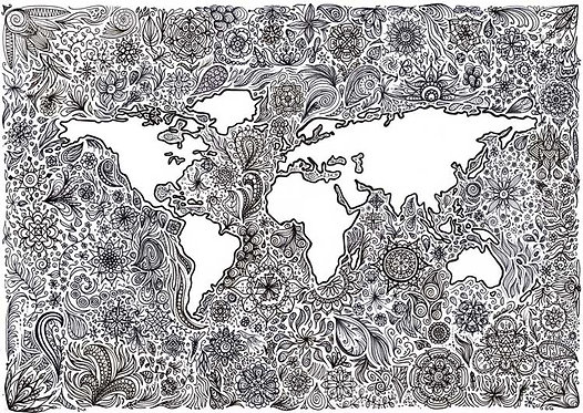 Doodle Patterned Patterns World Earth Map Greeting Card