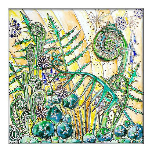 Natures secrets fern frog watercolour art greeting card