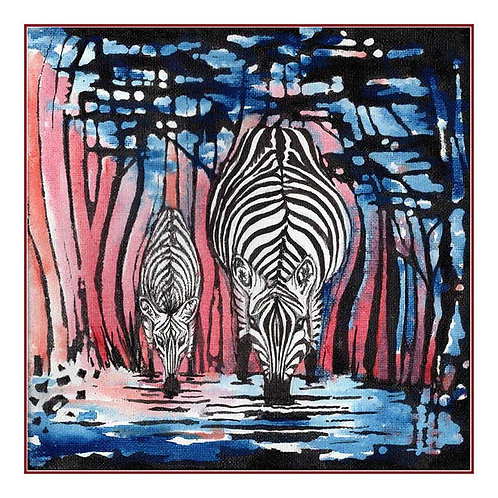 Prancing Zebras Waterhole Canvas Greeting Card