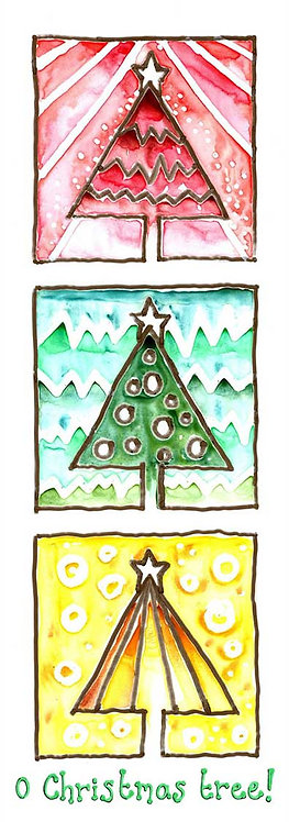 Christmas Tree Festive Watercolour Art Christmas Card