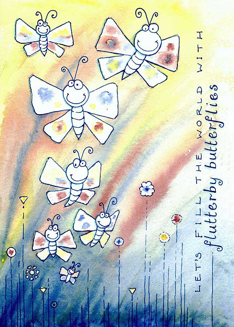 Flutterby Fluttering Butterflies Humour Funny Greeting Cards