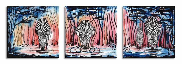 Three Zebras Trio Zebra Waterhole Wateringhole Greeting Card