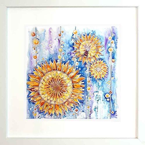 Framed sunflower buzz bee fine art print