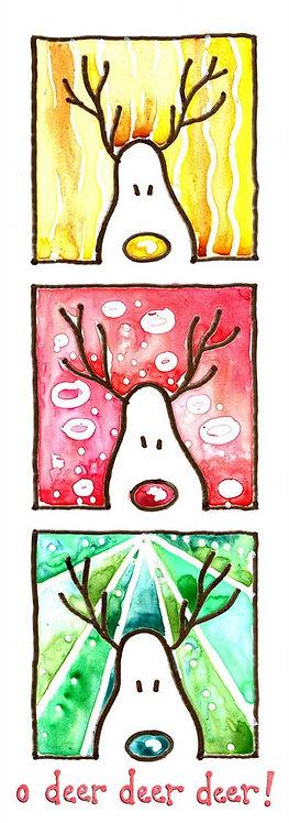 Deer Reindeer Watercolour Art Christmas Card