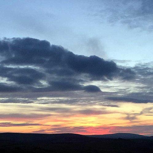 Painted skies sun set orange grey clouds photo greeting card