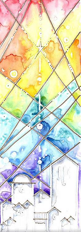 Star Bethlehem Guiding Light Watercolour Art Christmas Card