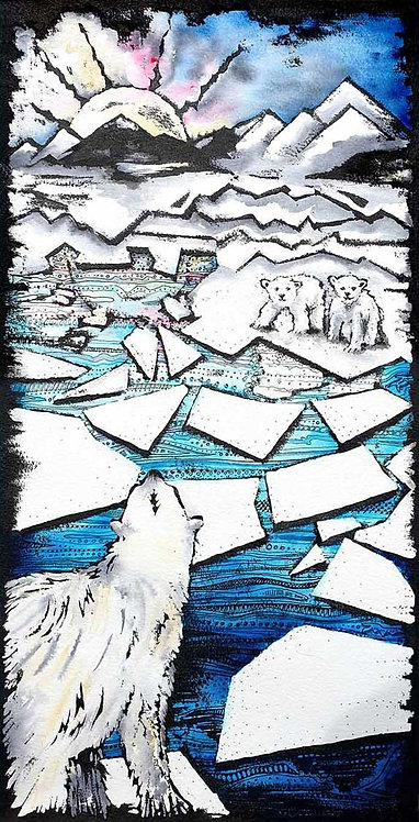 Polar Bear Family Iceberg Greeting Card