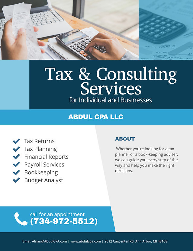 ABDUL CPA Tax  Consulting Services Flyer