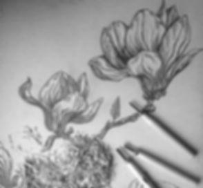 Detail of magnolia woodblock... slow han