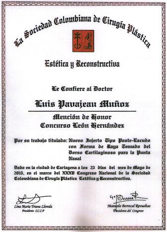 Dr Luis Pavajeau premio Leon Hernadez 2015 Cartagena
