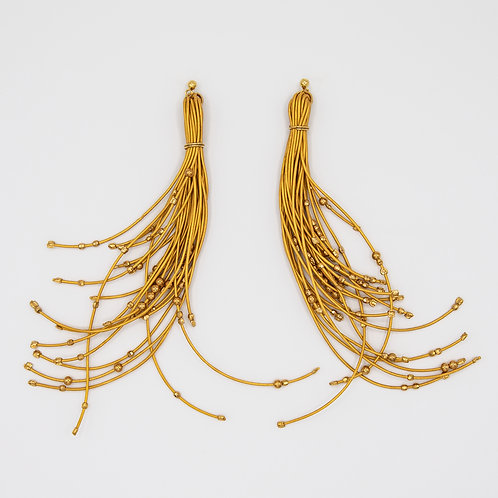Yellow Thread Genuine Leather Earrings with 18k Gold laminated Silver Balls