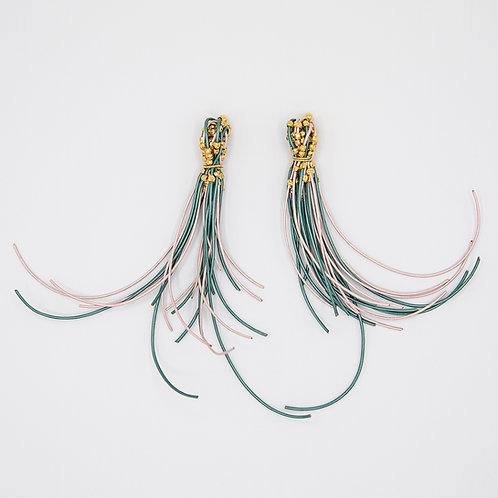 Genuine Leather Earrings in Pink & Petrol with 18k Yellow Gold Laminated Silver