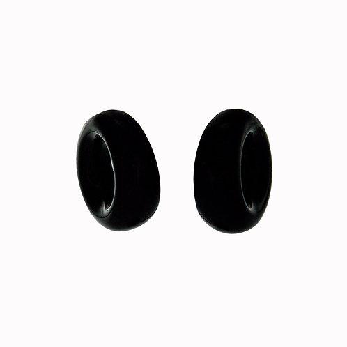 Monies Black Horn Circle Earrings with Clip Closure