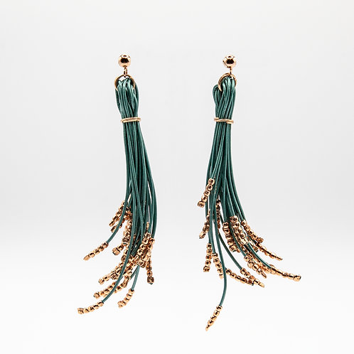 Leather Thread Earrings in Petrol with 18k Rose Gold Laminated Silver Balls