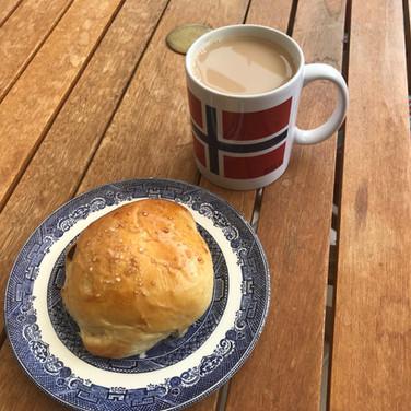 Raisin bun and well earned cup of tea!