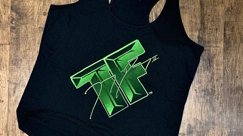 Ladies Racerback Tank (Black/Neon Green)