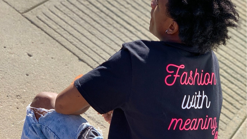 Fashion With Meaning Crew Neck Tee (Black/White/ Helconia pink)
