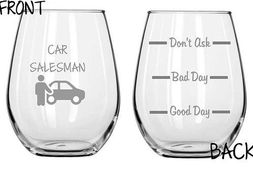 Car Salesman Personalized Glass Gift