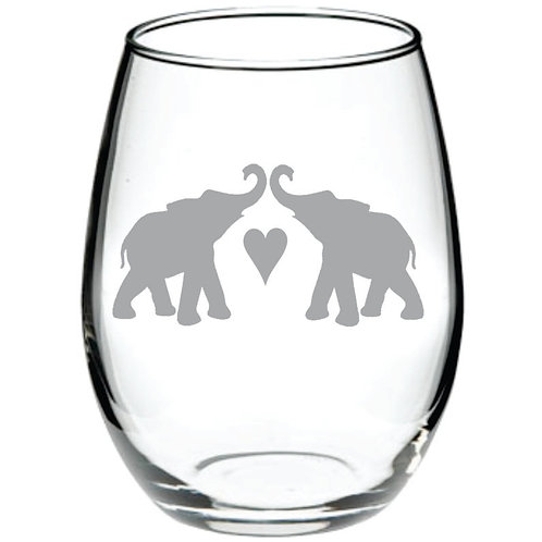 Elephant Couple with Heart