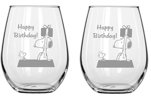 Snoopy Happy Birthday Personalized Glass Gift