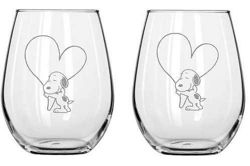 Snoopy with Heart Personalized Glass Gift