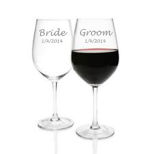 Bride and Groom Set Personalized Glass Gift