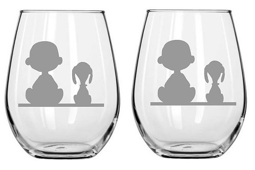 Snoopy and Charlie Brown Personalized Glass Gift