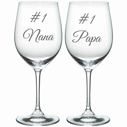 #1 Nana and Papa glass Gift Personalized