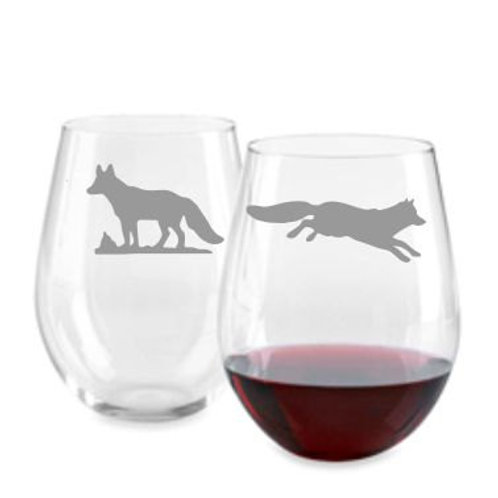 Fox Set of 2 Personalized Glass gift