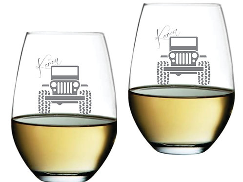 Jeep Personalized Glass Gift