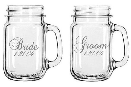 Bride and Groom Personalized Glass Gift