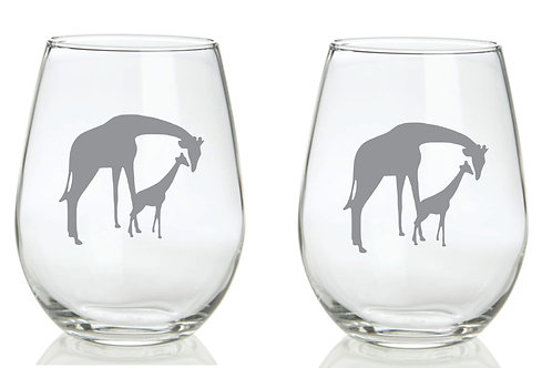 Giraffe and Baby personalized glass gift