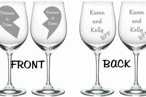 Partners in Crime personalized glass set